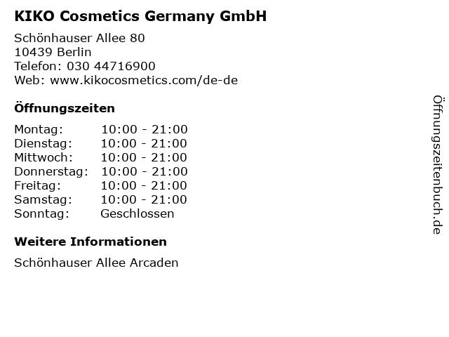KIKO Cosmetics Germany GmbH in Berlin: Adresse und Öffnungszeiten