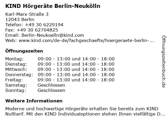 KIND Hörgeräte in Berlin: Adresse und Öffnungszeiten