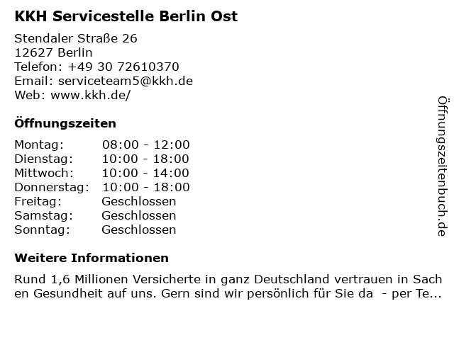 KKH Servicezentrum Berlin - Ost in Berlin: Adresse und Öffnungszeiten