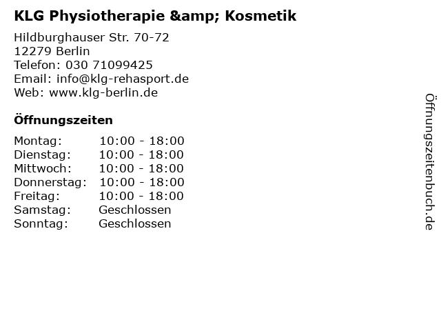 KLG Physiotherapie & Kosmetik in Berlin: Adresse und Öffnungszeiten