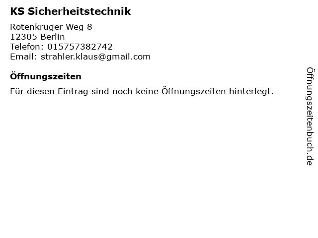 KS Sicherheitstechnik in Berlin: Adresse und Öffnungszeiten