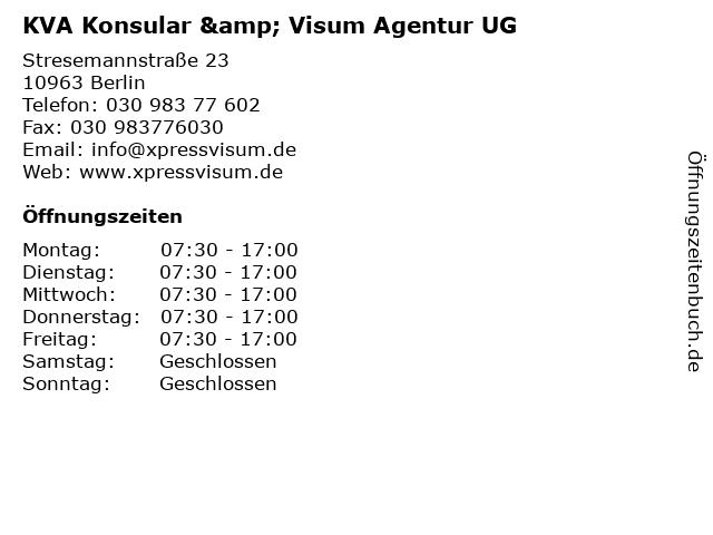 KVA Konsular & Visum Agentur UG in Berlin: Adresse und Öffnungszeiten