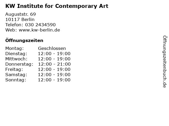 KW Institute for Contemporary Art in Berlin: Adresse und Öffnungszeiten