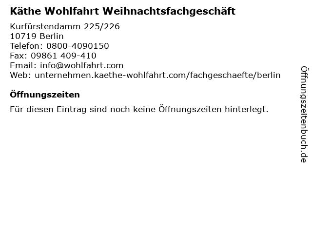 Käthe Wohlfahrt Weihnachtsfachgeschäft in Berlin: Adresse und Öffnungszeiten