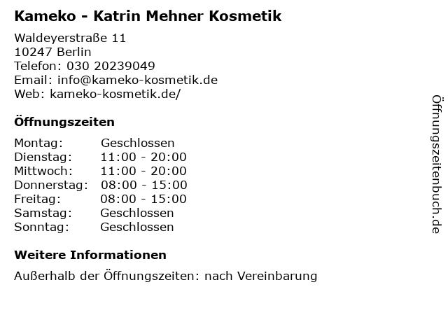 Kameko - Katrin Mehner Kosmetik in Berlin: Adresse und Öffnungszeiten