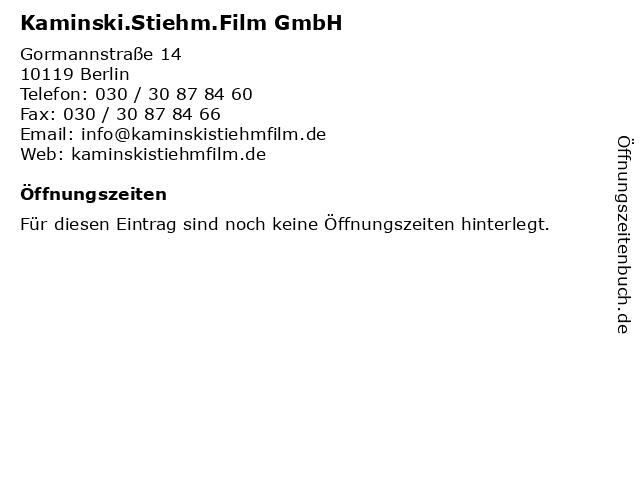 Kaminski.Stiehm.Film GmbH in Berlin: Adresse und Öffnungszeiten