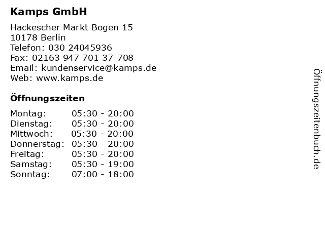 Kamps GmbH in Berlin: Adresse und Öffnungszeiten