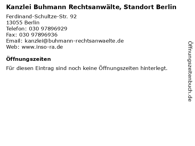 Kanzlei Buhmann Rechtsanwälte, Standort Berlin in Berlin: Adresse und Öffnungszeiten