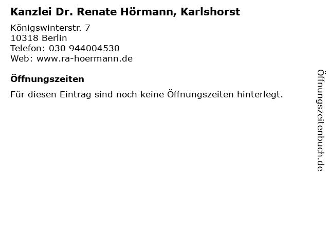 Kanzlei Dr. Renate Hörmann, Karlshorst in Berlin: Adresse und Öffnungszeiten