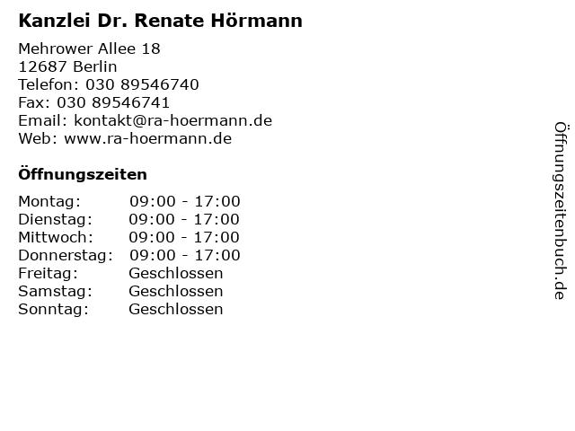 Kanzlei Dr. Renate Hörmann in Berlin: Adresse und Öffnungszeiten