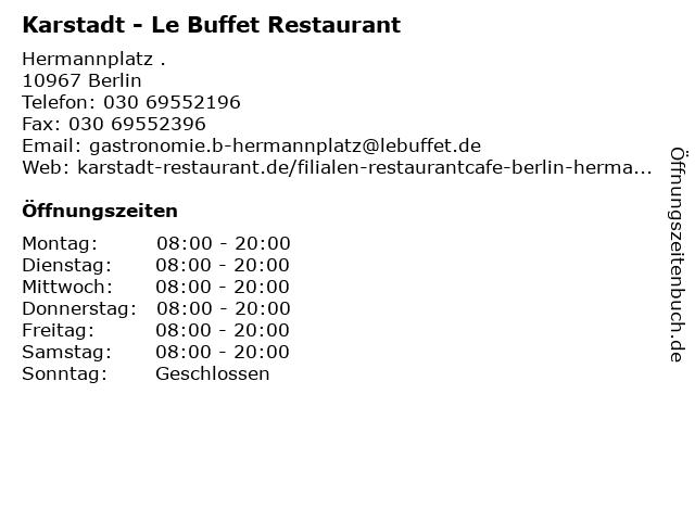 """ᐅ Öffnungszeiten """"Karstadt - Le Buffet Restaurant"""