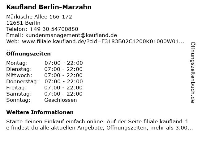 Berliner Sparkasse (Geldautomat Kaufland Märkische Allee) in Berlin: Adresse und Öffnungszeiten