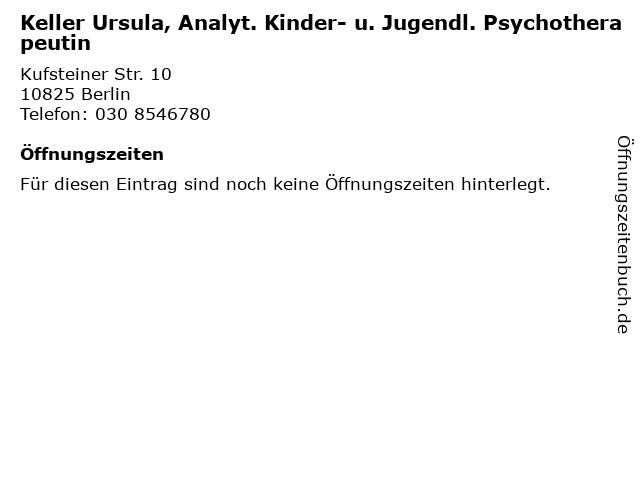 Keller Ursula, Analyt. Kinder- u. Jugendl. Psychotherapeutin in Berlin: Adresse und Öffnungszeiten