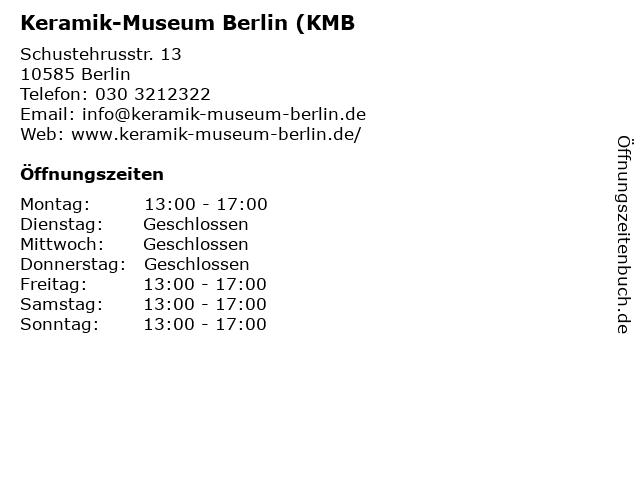 Keramik-Museum Berlin (KMB in Berlin: Adresse und Öffnungszeiten
