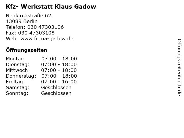 Kfz- Werkstatt Klaus Gadow in Berlin: Adresse und Öffnungszeiten