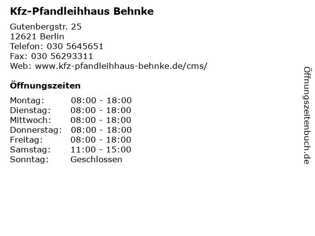 Kfz-Pfandleihhaus Behnke in Berlin: Adresse und Öffnungszeiten