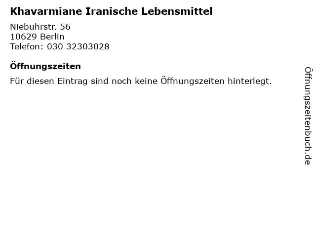 Khavarmiane Iranische Lebensmittel in Berlin: Adresse und Öffnungszeiten