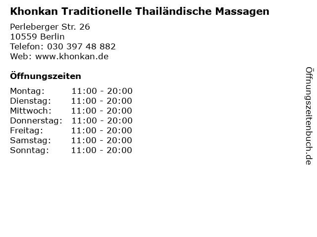 Khonkan Traditionelle Thailändische Massagen in Berlin: Adresse und Öffnungszeiten
