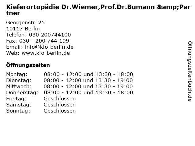 Kieferortopädie Dr.Wiemer,Prof.Dr.Bumann &Partner in Berlin: Adresse und Öffnungszeiten