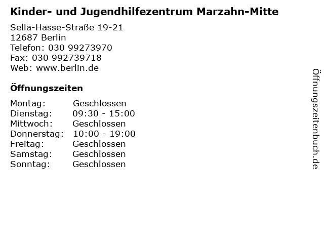 Kinder- und Jugendhilfezentrum Marzahn-Mitte in Berlin: Adresse und Öffnungszeiten
