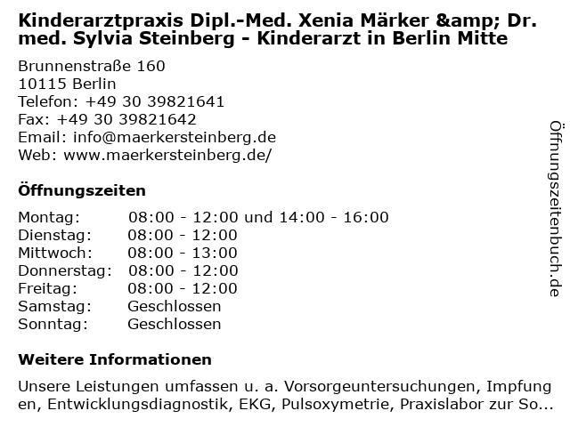Kinderarztpraxis Dipl.-Med. Xenia Märker & Dr. med. Sylvia Steinberg - Kinderarzt in Berlin Mitte in Berlin: Adresse und Öffnungszeiten