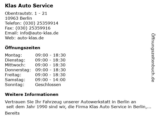 Klas Auto Service in Berlin: Adresse und Öffnungszeiten