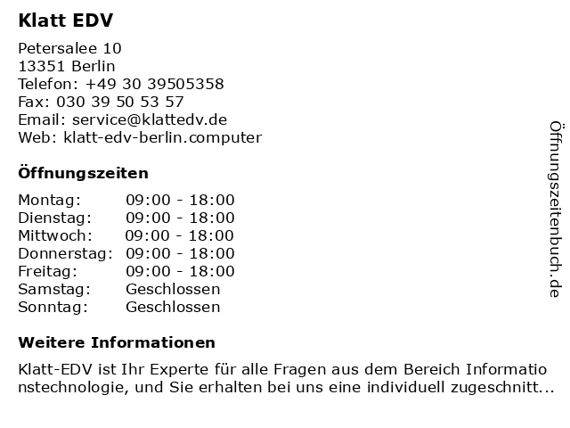 Klatt EDV in Berlin: Adresse und Öffnungszeiten