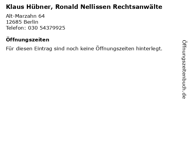Klaus Hübner, Ronald Nellissen Rechtsanwälte in Berlin: Adresse und Öffnungszeiten