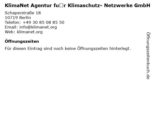 KlimaNet Agentur für Klimaschutz- Netzwerke GmbH in Berlin: Adresse und Öffnungszeiten