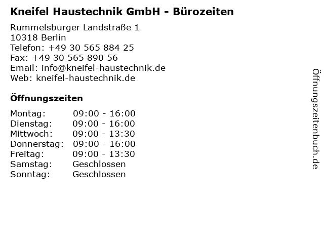 Kneifel Haustechnik GmbH - Bürozeiten in Berlin: Adresse und Öffnungszeiten