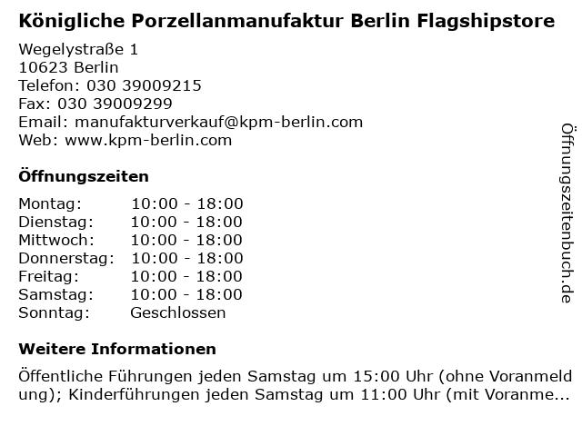 Königliche Porzellanmanufaktur Berlin Flagshipstore in Berlin: Adresse und Öffnungszeiten