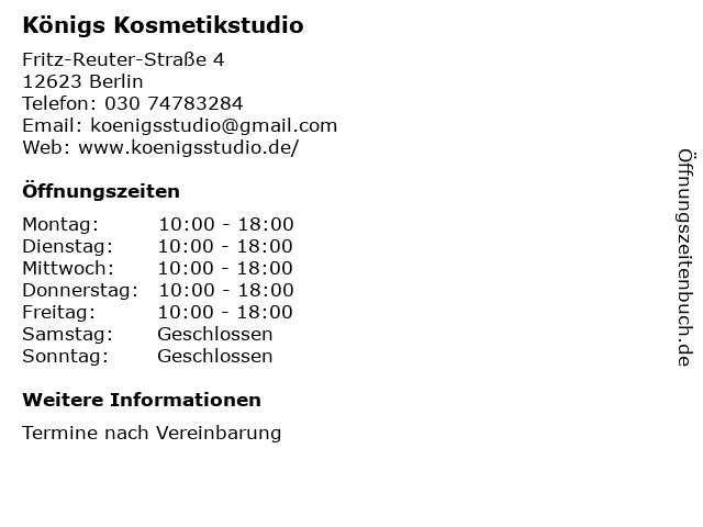 Königs Kosmetikstudio in Berlin: Adresse und Öffnungszeiten