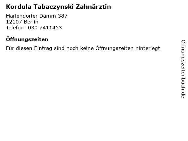 Kordula Tabaczynski Zahnärztin in Berlin: Adresse und Öffnungszeiten