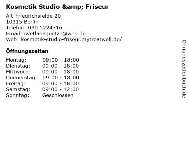 Kosmetik Studio & Friseur in Berlin: Adresse und Öffnungszeiten