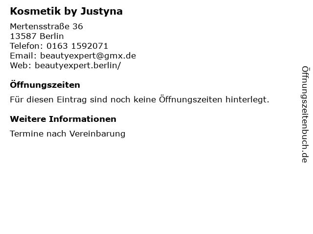 Kosmetik by Justyna in Berlin: Adresse und Öffnungszeiten