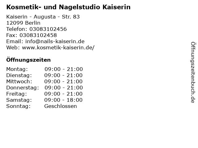 Kosmetik- und Nagelstudio Kaiserin in Berlin: Adresse und Öffnungszeiten
