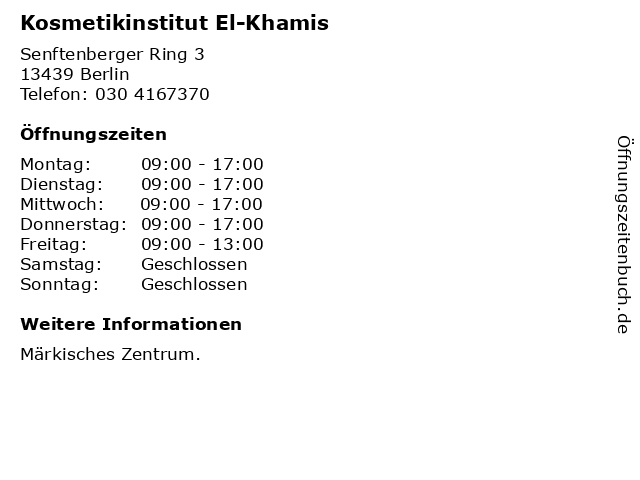 Kosmetikinstitut El-Khamis in Berlin: Adresse und Öffnungszeiten