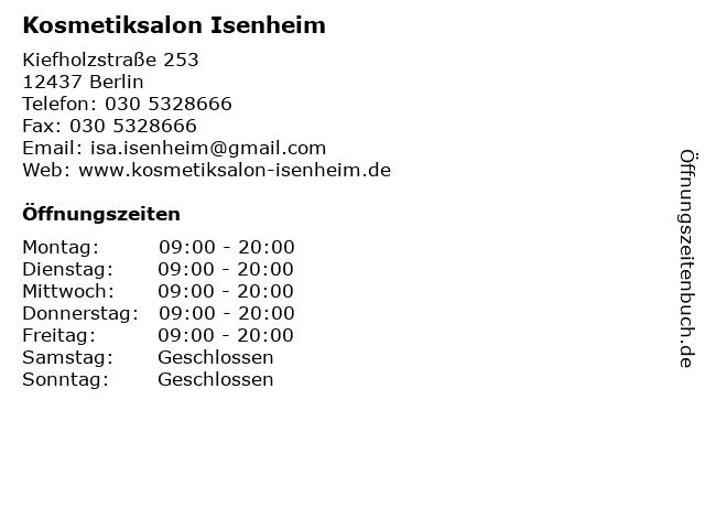Kosmetiksalon Isenheim in Berlin: Adresse und Öffnungszeiten