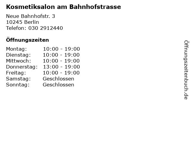 Kosmetiksalon am Bahnhofstrasse in Berlin: Adresse und Öffnungszeiten