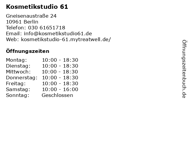 Kosmetikstudio 61 in Berlin: Adresse und Öffnungszeiten