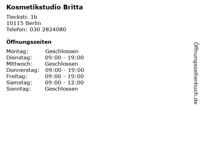 Kosmetikstudio Britta in Berlin: Adresse und Öffnungszeiten