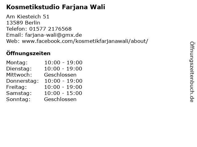 Kosmetikstudio Farjana Wali in Berlin: Adresse und Öffnungszeiten