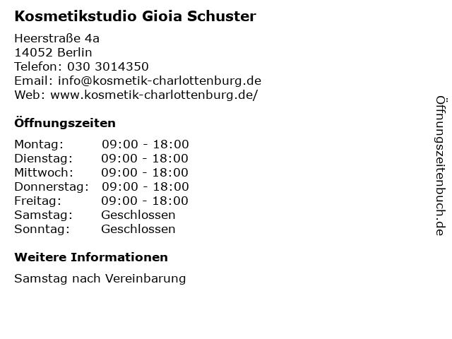 Kosmetikstudio Gioia Schuster in Berlin: Adresse und Öffnungszeiten
