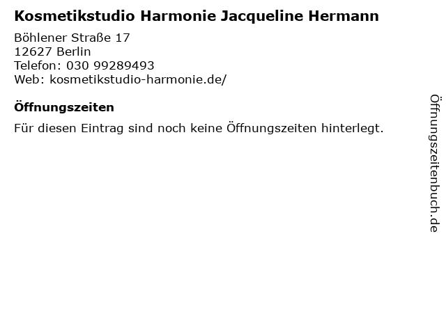 Kosmetikstudio Harmonie Jacqueline Hermann in Berlin: Adresse und Öffnungszeiten