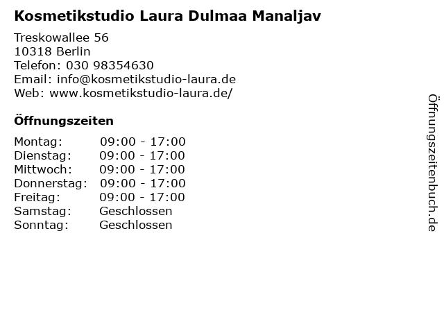 Kosmetikstudio Laura Dulmaa Manaljav in Berlin: Adresse und Öffnungszeiten