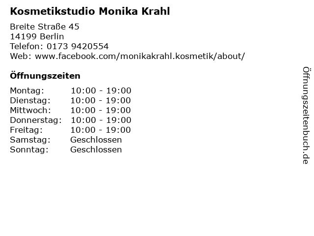 Kosmetikstudio Monika Krahl in Berlin: Adresse und Öffnungszeiten