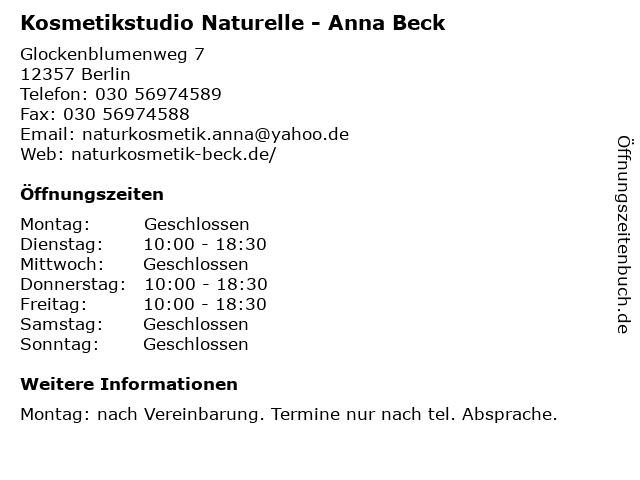 Kosmetikstudio Naturelle - Anna Beck in Berlin: Adresse und Öffnungszeiten