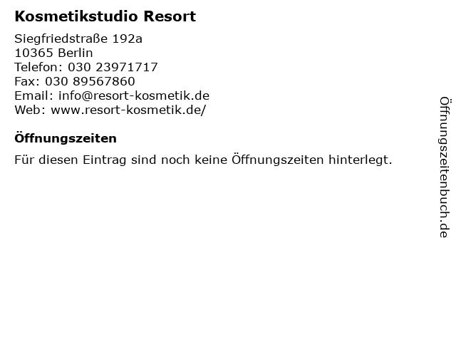Kosmetikstudio Resort in Berlin: Adresse und Öffnungszeiten