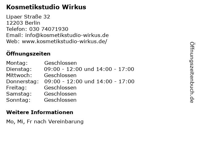 Kosmetikstudio Wirkus in Berlin: Adresse und Öffnungszeiten