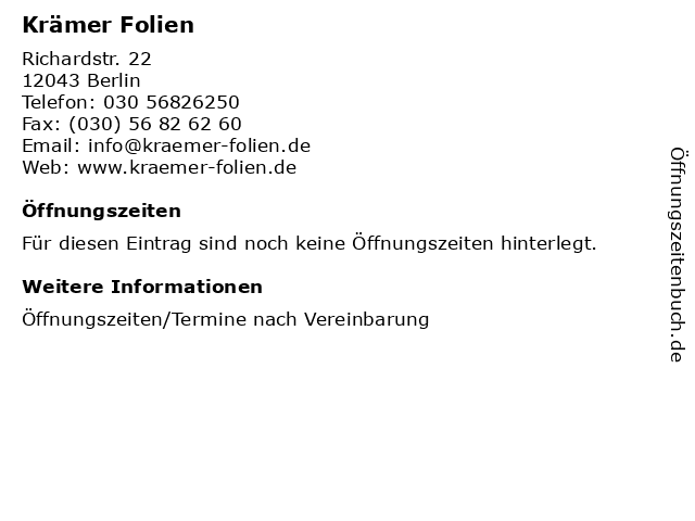ᐅ öffnungszeiten Krämer Folien Richardstr 22 In Berlin